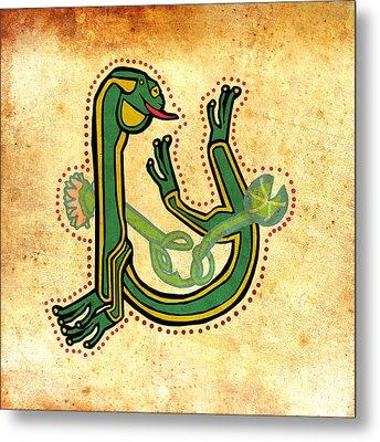 Vintage Frog Letter U Metal Print