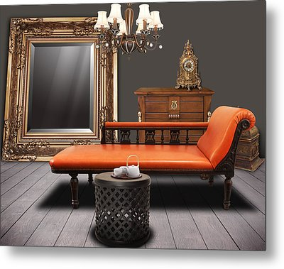 Vintage Furnitures Metal Print by Atiketta Sangasaeng
