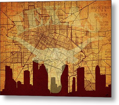 Vintage Houston Texas Skyline Metal Print