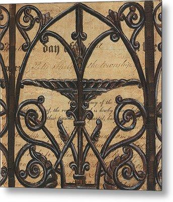 Vintage Iron Scroll Gate 1 Metal Print by Debbie DeWitt