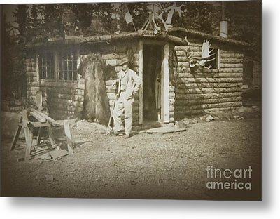 Metal Print featuring the photograph Vintage Log Cabin by Linda Phelps