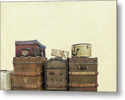 Steamer Trunks And Vintage Luggage Metal Print