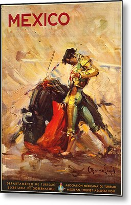 Vintage Mexico Bullfight Travel Poster Metal Print by George Pedro