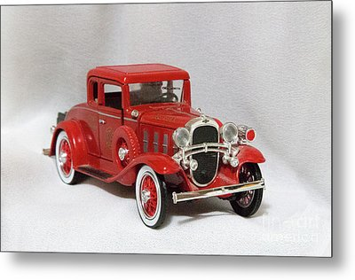 Metal Print featuring the photograph Vintage Model Fire Chiefcar by Linda Phelps