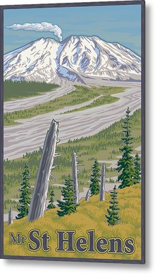 Vintage Mount St. Helens Travel Poster Metal Print by Mitch Frey