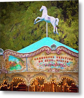 Metal Print featuring the photograph Vintage Paris Carousel by Melanie Alexandra Price