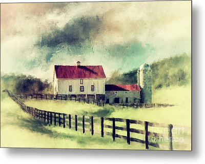 Metal Print featuring the digital art Vintage Red Roof Barn by Lois Bryan