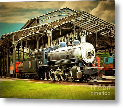 Vintage Steam Locomotive 5d29281brun Metal Print by Home Decor