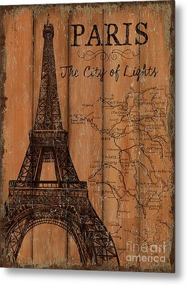 Vintage Travel Paris Metal Print by Debbie DeWitt