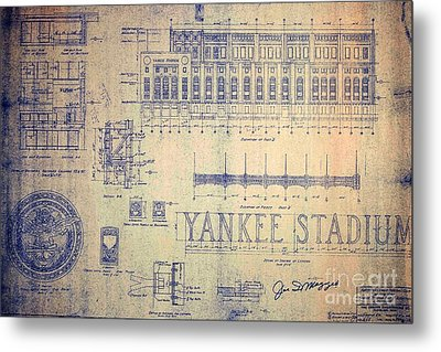 Vintage Yankee Stadium Blueprint Signed By Joe Di Maggio Metal Print by Peter Gumaer Ogden Collection