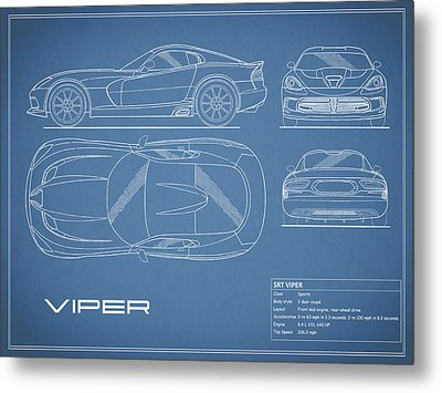 Viper Blueprint Metal Print by Mark Rogan