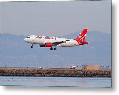 Virgin America Airlines Jet Airplane At San Francisco International Airport Sfo . 7d12180 Metal Print by Wingsdomain Art and Photography
