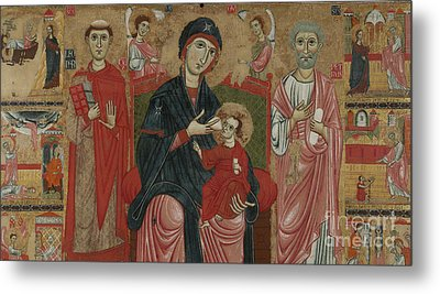 Virgin And Child Enthroned With Saints Leonard And Peter And Scenes From The Life Of Saint Peter Metal Print by Master of the Magdalen