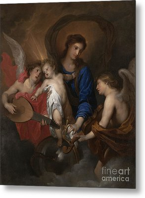 Virgin And Child With Music Making Angels Metal Print