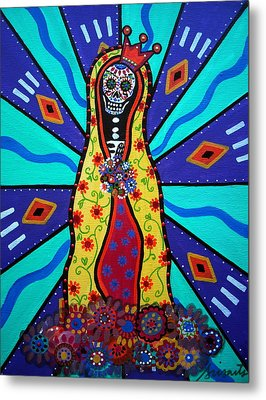 Virgin Guadalupe Day Of The Dead Metal Print by Pristine Cartera Turkus