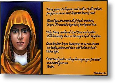 Spiritual Virgin Mary And Prayer Metal Print by Carmen Cordova
