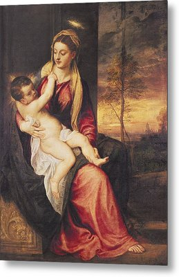 Virgin With Child At Sunset Metal Print by Titian