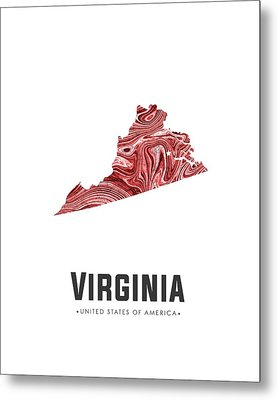 Virginia Map Art Abstract In Brown Red Metal Print