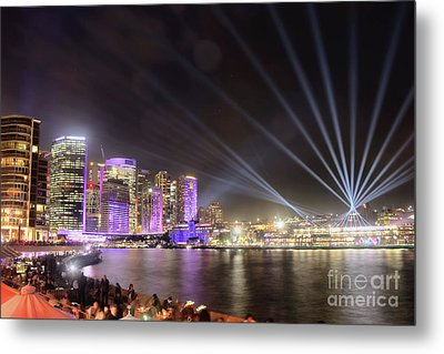 Metal Print featuring the photograph Vivid Sydney Skyline By Kaye Menner by Kaye Menner