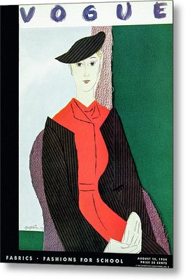 Vogue Cover Illustration Of A Blond Woman In Red Metal Print by R S Grafstrom