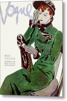 Vogue Cover Illustration Of A Woman In A Green Metal Print by Pierre Mourgue