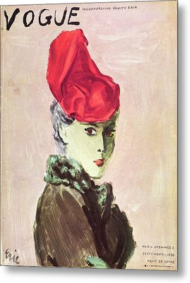 Vogue Cover Illustration Of A Woman Wearing A Red Metal Print by Carl Oscar August Erickson