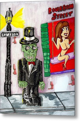 Voodoo Zombie On Bourbon Street Metal Print by James Griffin