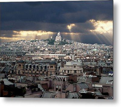 Vue De La Butte Montmartre.roofs Of Paris Metal Print by Bernard Jaubert