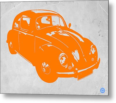 Vw Beetle Orange Metal Print