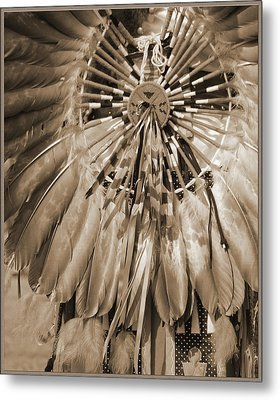 Metal Print featuring the photograph Wacipi Dancer In Sepia by Heidi Hermes