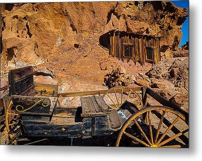 Wagon And Miners Hut Metal Print