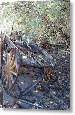 Wagon At The Ghost Town Metal Print by Marilyn Barton
