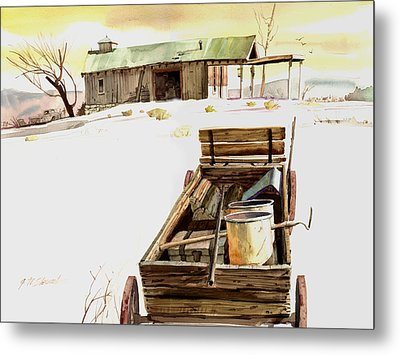 Wagon At White Sands Metal Print by John Norman Stewart