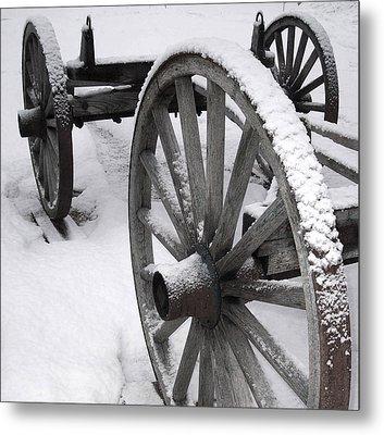 Wagon Wheels In Snow Metal Print