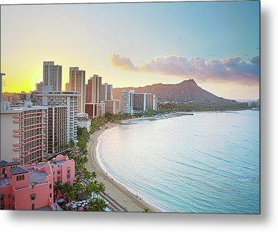 Waikiki Beach At Sunrise Metal Print by Monica and Michael Sweet