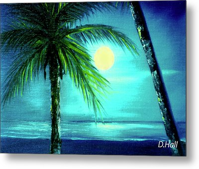 Waikiki Beach Moon #22 Metal Print by Donald k Hall