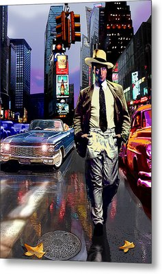 Waine Walking In Times Square Metal Print by Jose Roldan Rendon