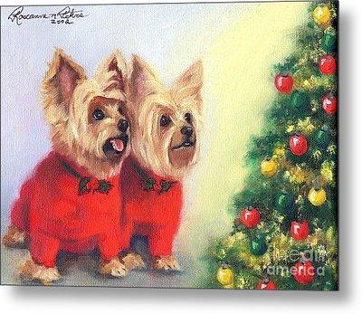 Waiting For Santa Dog Metal Print by Roseanne Marie Peters