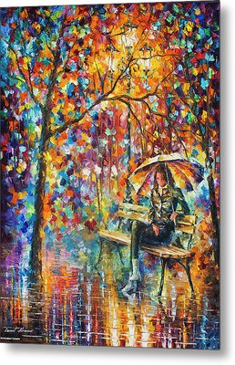 Waiting In The Rain Metal Print by Leonid Afremov
