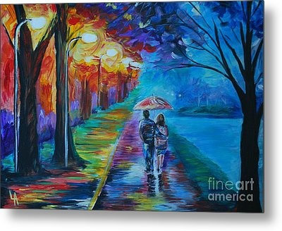 Metal Print featuring the painting Walk By The Lake  by Leslie Allen