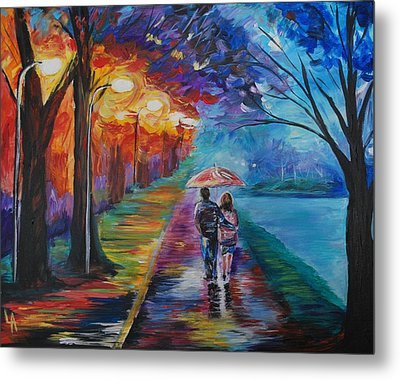 Metal Print featuring the painting Walk By The Lake Series 1 by Leslie Allen