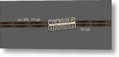 Metal Print featuring the photograph Walk The Line Light Lettering by Heather Applegate
