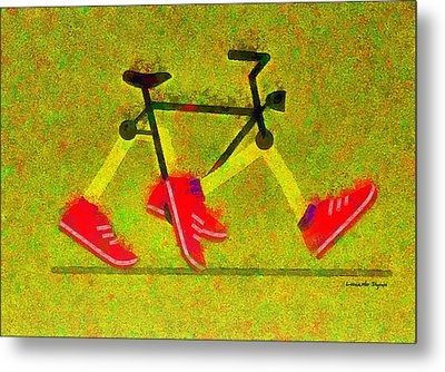 Walking Bike - Da Metal Print