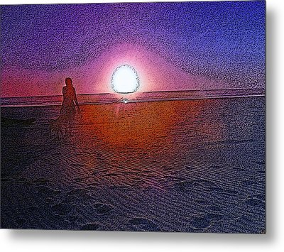 Walking In The Glow Metal Print