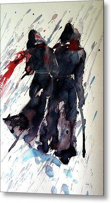 Walking In The Storm Metal Print by Kovacs Anna Brigitta