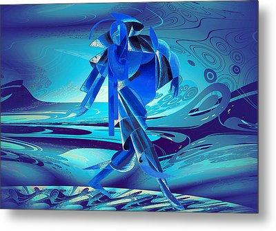 Metal Print featuring the digital art Walking On A Stormy Beach by Robert G Kernodle