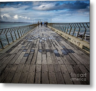 Metal Print featuring the photograph Walking The Pier by Perry Webster