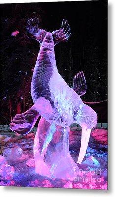 Walrus Ice Art Sculpture - Alaska Metal Print by Gary Whitton