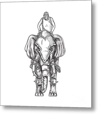 War Elephant Mahout Rider Tattoo Metal Print by Aloysius Patrimonio