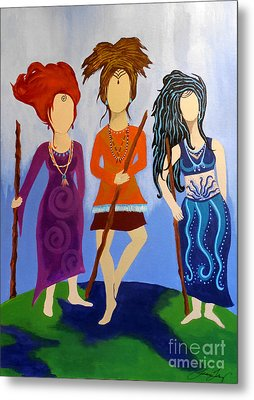 Warrior Woman Sisterhood Metal Print by Jean Fry